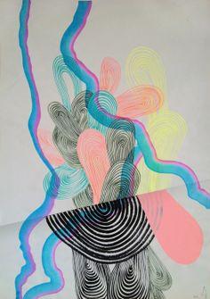 "Saatchi Online Artist: david delgado; Acrylic 2013 Painting ""linelobes 11"""
