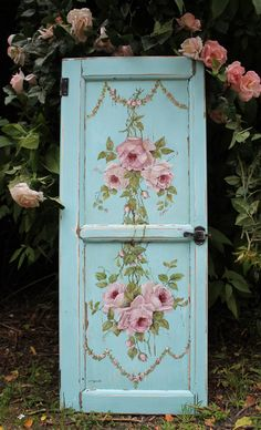 Painted on a chippy vintage door panel http://www.gailmccormack.com/item_1885/ON-HOLDOriginal-Painting-on-Vintage-Cupboard-Door--Postage-is-included-Australia-wide.htm