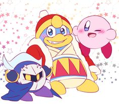 Meta Knight, King Dedede, and Kirby!! Aw!