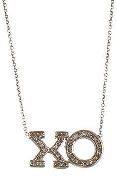 Oxidized Pave Diamond XO Necklace