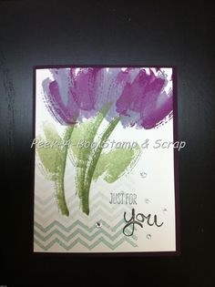 handmade card featuring Work of Art stamp set ... artistic tulips on an ombré block of chevron stripes ... luv the soft watercolor brush stroke look! ... Stampin'Up!