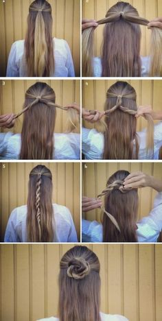 Easy Hairstyles for the Faculty - Cute 5 Minute Rose Braid Coiffure for Candy Fridays Braided Bun Hairstyles, Easy Hairstyles For Long Hair, Casual Hairstyles, Cool Hairstyles, Wedding Hairstyles, Simple Hairstyles For School, Rose Hairstyle, Lazy Girl Hairstyles, Step Hairstyle