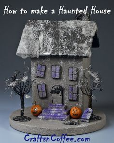 Halloween fun -- make your own Tabletop Haunted House. There are so many ways to decorate this! You could even change the size and style of the house, or, make a haunted village. Halloween Village, Halloween Haunted Houses, Halloween House, Holidays Halloween, Halloween Crafts, Happy Halloween, Halloween Decorations, Halloween Scene, House Decorations