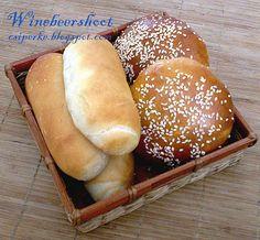 Hot Dog Buns, Hot Dogs, Hamburger, Ciabatta, Bread Rolls, Bread Recipes, Food And Drink, Rolls