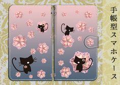 ハンドメイドマーケット minne(ミンネ)  手帳型スマホケースS/M 桜猫◆墨桜色
