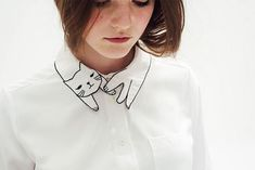 Cheap blouse collar, Buy Quality blouses summer directly from China blouse top Suppliers: Arrival Womens Embroided Tops Mori Girl Blouses with Cute Cat White Cheap Long Sleeve Shirts with Pocket Tops Long Sleeve 2015 Collar Blouse, Collar Shirts, Shirt Blouses, Collar Top, Cheap Long Sleeve Shirts, Long Sleeve Tops, Mode D'inspiration Vintage, Tops Vintage, T-shirt Broderie