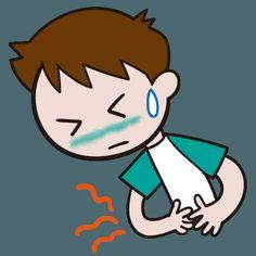 6月梅雨時の体調不良 いたた・・・食中毒による腹痛 イラスト素材