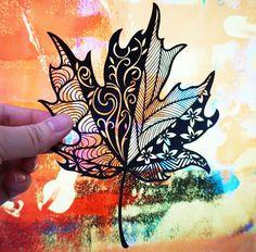 Handmade paper cut  Maple leaf wall art unframed by SinyeeCraft.