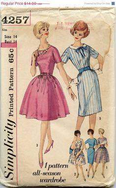 ON SALE 1960s Dress Pattern Simplicity 4257 by GreyDogVintage, $10.50
