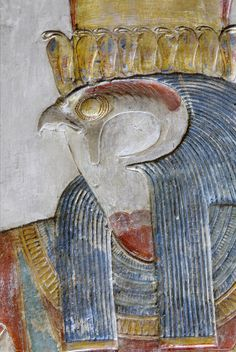 Detail from the west wall of the Horus Shrine in the Mortuary Temple Of Seti I at Abydos. Part of a scene in which Seti I is offering incense to Horus. Ancient Egypt Art, Ancient Artifacts, Ancient Aliens, Ancient History, European History, Ancient Greece, American History, Fresco, Empire Romain