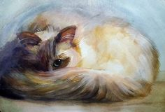 Buy Cat's eyes, a Watercolor on Paper by Valeriia Temnenko from Ukraine. It portrays: Animal, relevant to: realism, signed, watercolor, cat, animal, original The Cats associated with mysticism...it seems Cats see more than a Man...looking In Cats eyes see greater depth...