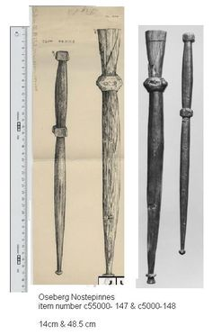 Nostepinnes from the Oseberg ship find, photo and drawing together ( the original photos are from the museums archive site )
