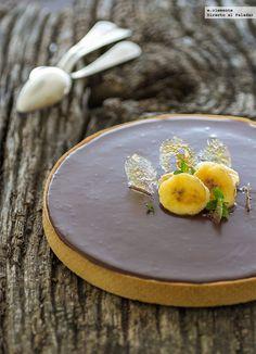 tarta ganache de chocolate y plátano
