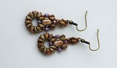 Handmade Beaded Alabaster Lilac Gold Earrings by craftybeadcollection on Etsy https://www.etsy.com/listing/240806947/handmade-beaded-alabaster-lilac-gold