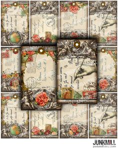 TABULA ROSA  Digital Printable Collage Sheet  French by JUNKMILL, $3.95 Etsy