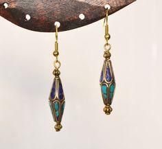 Boucles d'oreille ethniques perles du Népal