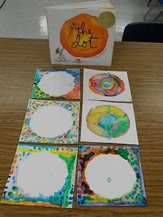 """""""As a kinder and 1st project we read the book The Dot.  A cute story about a little girl who discovers art  through a simple series of dot paintings.  The students were able to paint their own dot, or not-a-dot, with watercolors.  This was a nice simple opportunity for students to use paints and learn the expectations for using watercolors.  Ask them why brushes don't like bad hair days!"""""""
