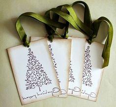 Vintage Inspired Christmas Gift Tags Christmas Tags Holiday Tags Seasons Greeting Tags Noel Tags Set of 6. $8.00, via Etsy.