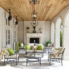 Love the wood ceiling on this porch