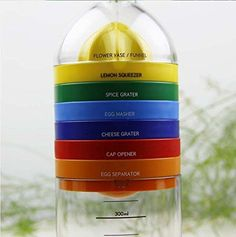 Locisne 8 en 1 herramienta de la cocina, su multifuncionalidad, recipiente de plástico de botellas Esenciales Herramientas de Cocina Cocina Cocina Gadget (embudo, exprimidor de limón, especias rallador, machacador de huevo, rallador de queso, separador de huevo, la taza de medición, abrelatas)