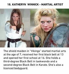 Tagged with i hate you guys, filmstrip, it was one big image, now it is not, truly madly deeply; Vikings Travis Fimmel, Vikings Tv Series, Katheryn Winnick, Shield Maiden, Martial Artist, Taekwondo, Girl Crushes, Black Belt, Karate