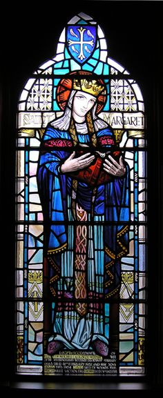 The windows depict St Columba who first founded a monastery on Iona in 563A.D., and St Margaret, Queen of Malcolm 111; from St James the Less Episcopal Church, Glasgow, Scotland