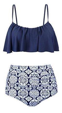 Aixy Swimsuits for Women High Waisted Push Up Cute Bikini Set(Navy ABKY060-N1-2XL)