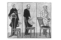 """Caricatura di Karl Arnold sulla polemica al congresso del Deutscher Werkbund del 1914: Van de Velde propone la sedia """"individuale"""", Muthesius la sedia """"tipo"""" e il falegname la sedia per sedersi..."""