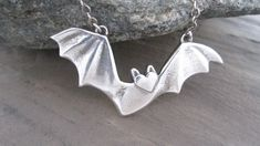 Bat Necklace in Sterling SIlver, by JHeatonDesigns