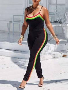 f46a4779baa Multicolored Contrast Striped Slinky Jumpsuit Jumpsuit