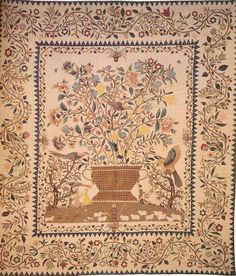 Medallion Bedcover with Broderie Perse, 1800. Made by Phebe Warner. New York.