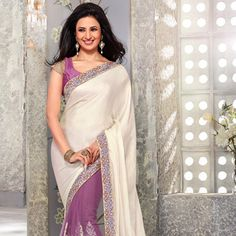 Off White and Magenta Crushed Satin Shimmer and Net Saree with Blouse