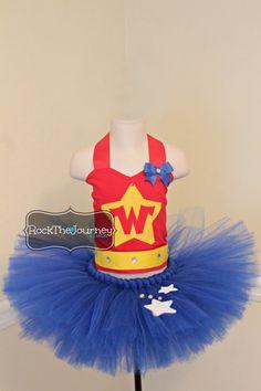 Wonder Woman Super Hero BIrthday Party Tutu Dress - Halloween Costume Outfit - Pageant - Dress Up - Baby Girl 1st Birthday Party #wonderwomancostume #superherocostume #wonderwomanshirt By RockTheJourney