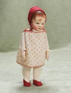 """What a pretty little girl! 13"""" German cloth character by Kathe Kruse, rare model in near mint condition 1600/2500"""