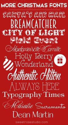 More Christmas Fonts || SweetRoseStudio ~~ {15 Free fonts w/ easy download links}
