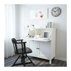 HEMNES Kirjoituslipasto - valkoiseksi petsattu - IKEA