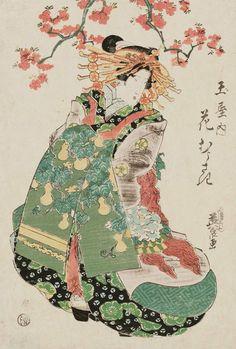 Hanamurasaki of the Tamaya.Ukiyo-e woodblock print, about 1830's, Japan, by artist Keisai Eisen.