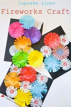 Cupcake Liner Fireworks Craft! An easy and colorful activity for kids this summer!
