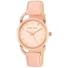 Anne Klein Watch, Women's Light Pink Leather Strap 38mm 10-9926rglp ($75) ❤ liked on Polyvore