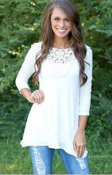 Lace Stitching Blouse Loose Cotton Tops Shirt