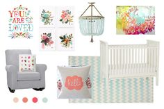 Mood board for a girl nursery
