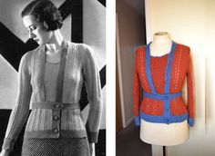 1930's jumper/30s knitwear/hand knitted vintage sweater/silk & wool mohair mix/handmade 1930 reproduction/vintage buttons/Lacoona original