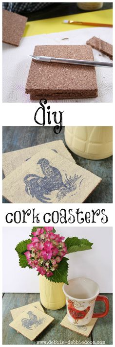 Cork coasters painted with Chalk paint