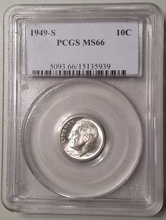 Key Date 1949-S San Francisco Roosevelt Dime graded MS66 Mint State by PCGS, Silver Coin