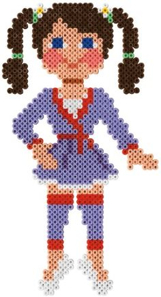 Ballerina / Hama Perlen / perler beads  / Bügelperlen Pearler Bead Patterns, Perler Patterns, Craft Patterns, Bead Crafts, Diy And Crafts, Peler Beads, Fusion Beads, Melting Beads, Bead Kits