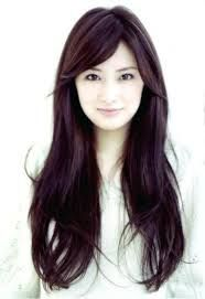 Image result for round or square face long side swept bangs asian