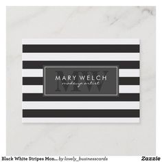 Black White Stripes Monogram (appointment card) Appointment Card