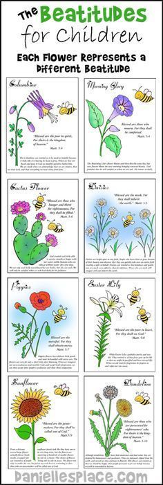Beatitudes Color Sheets for Children's Sunday School from www.daniellesplace.com