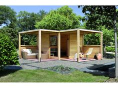 Holz-Gartenhaus Cubus Eck Natur im OBI Online-Shop