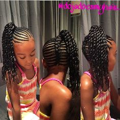 beautiful braided style , fishtail braid up the back and braided side ponytail with two strand twist